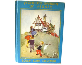 A Childs Garden Of Verses Illustrated by Eulalie First Edition 1929 - Vintage Childrens Book - Poetry Book