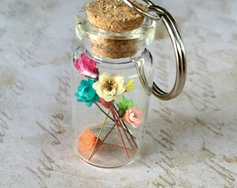 Large Bottle with Real Rainbow Dried Flowers Keychain Preserved Botanical Specimen Gift for Nature Lovers