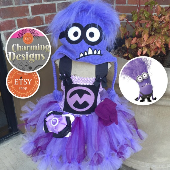 5 piece- Minion inspired Petti TuTu DRESS with Lined Top - Purple Minion Costume