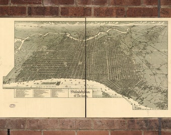 Philadelphia PA Vintage Print Poster Map  from 1887