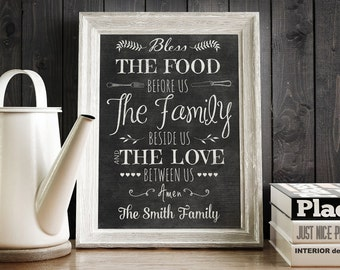 Personalized Printable Bless The Food Prayer Kitchen Dining Room Wall Art Perfect Wedding