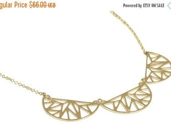 ON SALE Silver or Gold Necklace, Geometric Jewelry, Gemoetric Pattern, Exclusive Design, 925 SS, 14K Yellow Gold Plate Y1001