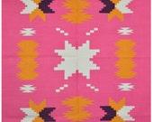 Custom Listing - Discounted - 4x6 Area Rug - Pink Rug - Reversible Cotton Rug - Large Floor Rugs - Woven rug - Tribal Rug - Decorative Rug