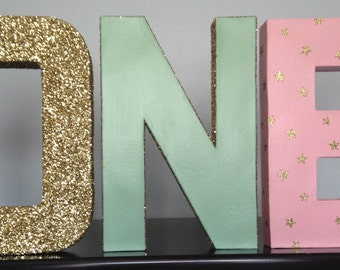 ONE birthday letters.  ONE Glitter letters.  First birthday letters. Birthday photo prop. Mint and pink letters. Twinkle Little Star Letters