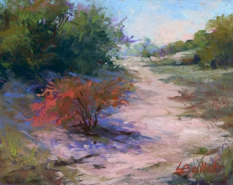 Beach art, Beach dunes painting, Beach trees pastel painting, Original pastel painting, Unframed art, Pastel impressionist, Fall color dunes