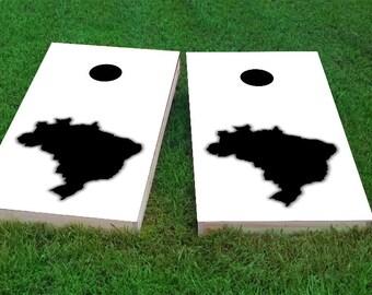 White Brazil Themed Light Weight (1x4) Regulation Size Custom Cornhole Board Game Set - Corn Hole - Bag Toss