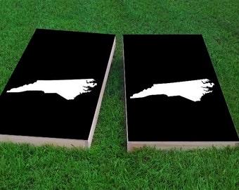 Black North Carolina Themed 2x4 Custom Cornhole Board Set with bags | Custom Corn Hole | Bag Toss | Corn Toss | Bean Bag Toss