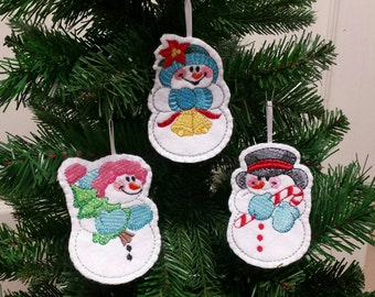 Set of 3 - Embroidered Snowman ornament - Snowman christmas ornament - Embroidered felt ornament -Christmas gift