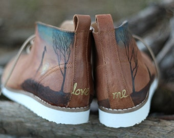 unique ankle boots, brown, leather boots, handpainted boots, comfortable boots