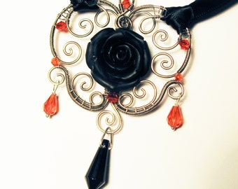 Wire-wrap Black Rose Silver Necklace with Red Crystals - Satin Gothic Goth Pendant with Black Flower