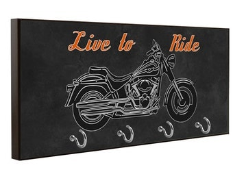 Wood Key Holder with Harley Davidson Motorcycle Graphic Sign Man Cave Harley Gift Shop Plaque Biker Garage Sign
