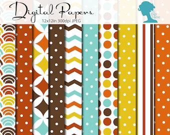CLEARANCE Digital Scrapbooking Paper Pack: Autumn/Fall Leaves, Instant Download