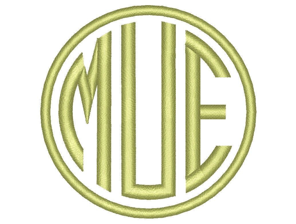 Circle monogram slim font three letters machine