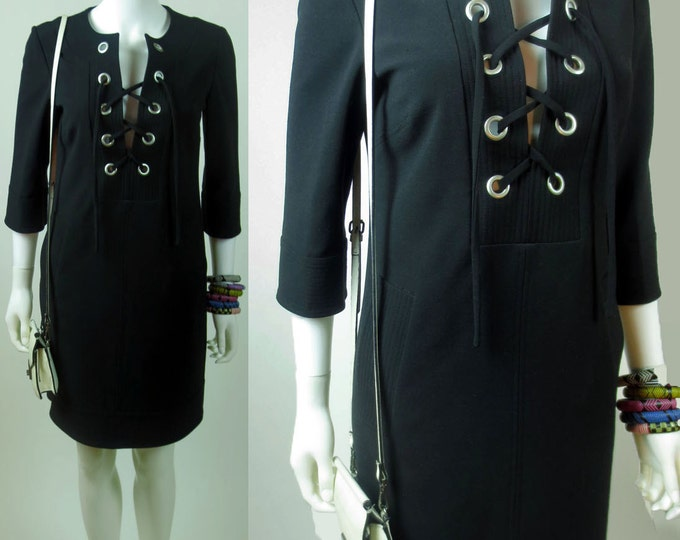 90s Yves Saint Laurent inspired designer metal grommet lace up safari sexy stretch wool dress