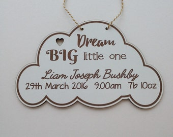 Baby cloud personalised cloud shaped plaque