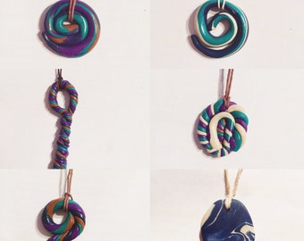 Unique polymer clay hippy of boho chain