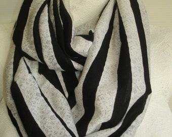 Black and White Infinity Scarf - Black and White Striped Scarf - Lacey Knit Scarf