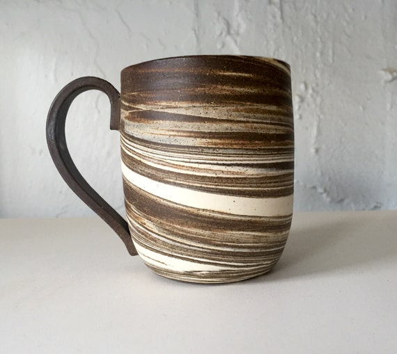 Modern mixed clay ceramic coffee mug