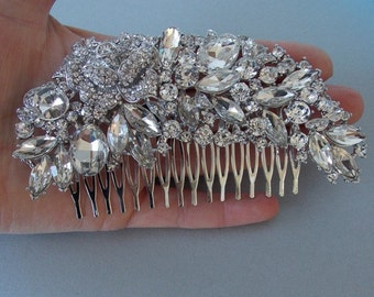 Large Silver Crystal Jewelled Gatsby  Bridal Wedding Haircomb