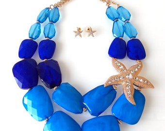 Chunky Blue Beaded and Gold Starfish Statement Necklace
