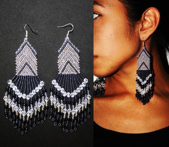 Beautiful Arrow Chandelier Earrings, Native American Beaded Earrings, Huichol Earrings, Traditional High Fashion Jewelry, Huichol Beadwork