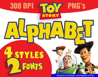 SALE Toy Story Alphabet Clip Art Font Typography Pixar Movie Clipart PNG Invitations Centerpieces