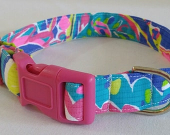 Dog Collar in Lilly Pulitzer Multi Toucan Play fabric