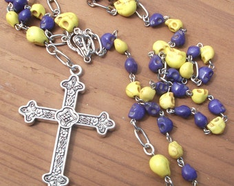 Day of the Dead Purple & Yellow Skull Rosary Beads