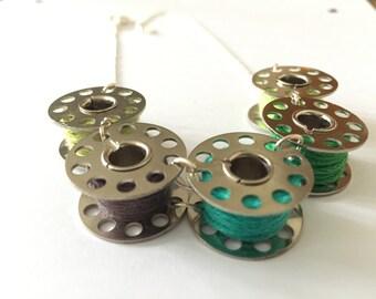Shades of Green Bobbin Necklace