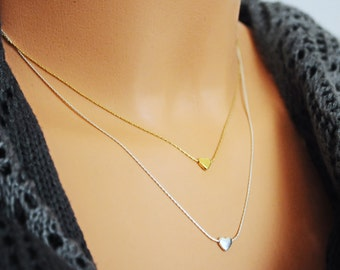 Heart necklace gold. 14K Gold Field chain. Tiny heart necklace. Tiny gold necklace. Valentine's Day gift. Girlfriend gift. Valentine gift