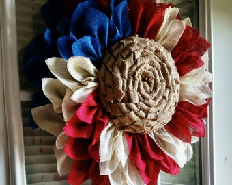 Patriotic Sunflower Wreath - Fourth of July - Labor Day - Red, White and Blue