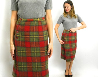 60s Plaid Wool Skirt | Green Red Wool Pencil Skirt | Medium