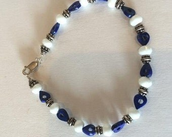 Blue Lapis Heart and White faceted Quartz Bracelet with Sterling Bali beads, and Sterling lobster claw clasp