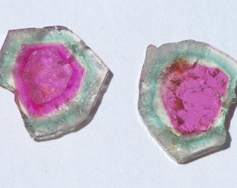 Pair of watermelon tourmaline slices, pink and green, natural crystal edges, Approximately 20 x 18 mm C2621