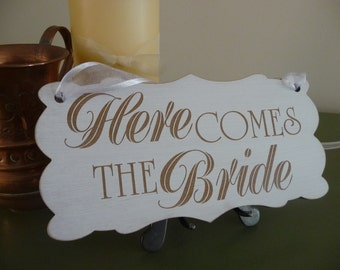 Here Comes The Bride Sign, Wooden Wedding Sign, Ring Bearer Sign, Flover Girl Sign, Page Boy Sign, Wedding Ceremony  Sign