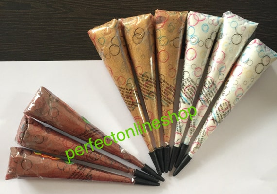 Best Henna Cones: 3 Copper Color Henna Cone Packing 3 Pc Golden Henna Cones 3