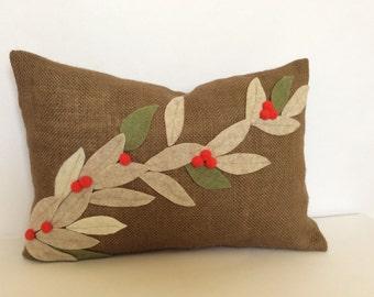 Christmas Lumbar Pillow Cover, Burlap Pillow, Burlap Holiday Pillow, Chocolate Brown Cushion, Christmas Floral Pillow, Christmas Decor