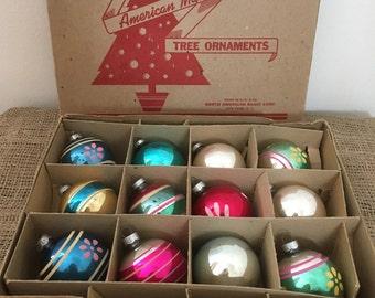 12 Vintage Mercury Shiny Bright Glass Christmas Bulbs in Box M660
