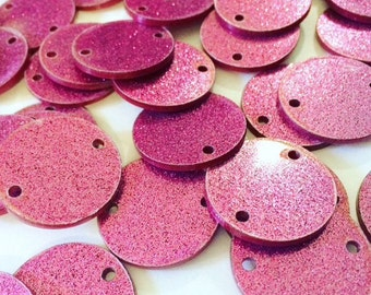 """2 Hole Acrylic Disc - BLANK - 1.25"""" Across - 2 Holes for Bangle Making, Necklace or Keychain, Jewelry Making - Flat Rate Shipping! - pink"""