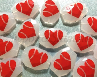 Baseball LOVE bead on your choice of color - jewelry making, wire bangle bracelet, gift, handmade beads - necklace earrings