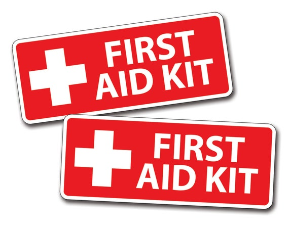 Red First Aid Kit Stickers Decal Camp Boat Kayak Sup Camp Kid