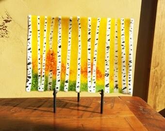 "Fused Glass Art Aspen Trees 8 x 11"" Wavy Plate"