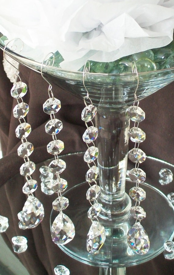 Martini glass vase hanging crystals 4 pc by weddingbridaldecor for Decoration vase martini