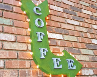 """ON SALE Large 37"""" COFFEE Rustic Metal Curved Arrow Marquee Bean Java Espresso Bar Cafe Restaurant Diner Sign - 14 Colors!"""