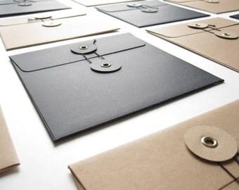 "5.1 x 5.1""// 60 Pcs High Quality Square Envelope with String & Button Closure 。 Invitation Envelope 。 String Tie Envelopes"