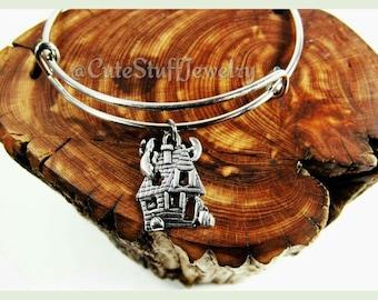 Haunted House Bracelet,  Haunted House Bangle, Haunted Bracelet, Adjustable Bangle, Handmade Halloween Jewelry, Halloween Bracelet