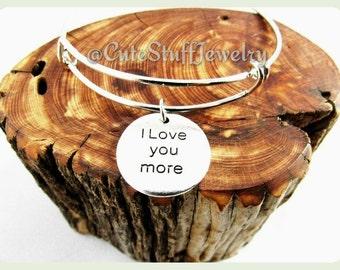 I Love You More Bracelet, I Love You More Bangle, Handmade Love Jewelry, Antique Silver Love Bracelet, Love Bangle Gift