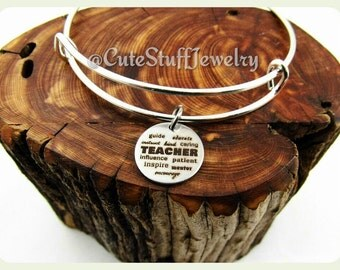 Inspirational Teacher Bracelet, Teacher Bangle, Favorite Teacher Bracelet, Favorite Teacher Bangle, Handmade Teachers Appreciation Jewelry