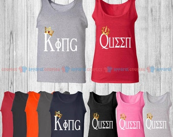 King & Queen - Matching Couple Tank Top - His and Her Tank Tops - Love Tank Tops