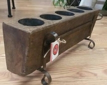 Vintage 5 Hole Wood Sugar Mold. Use as Candle Holder, Crayon Caddy, Silverware Caddy! As seen on Fixer Upper HGTV. Stand included.